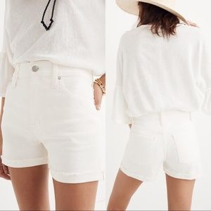 Madewell 32 High-Rise Denim Jean Shorts Tile White